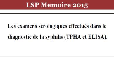 Photo of Les examens sérologiques effectués dans le diagnostic de la syphilis (TPHA et ELISA)