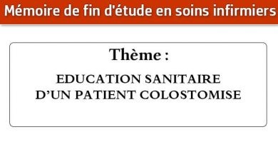 Photo of Mémoire infirmier : EDUCATION SANITAIRE D'UN PATIENT COLOSTOMISE