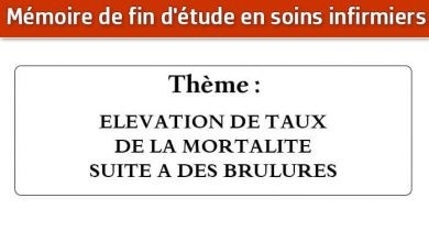 Photo of Mémoire infirmier : ELEVATION DE TAUX DE LA MORTALITE SUITE A DES BRULURES