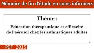 Photo of Memoire infirmier : Education thérapeutique et efficacité de l'aérosol chez les asthmatiques adultes