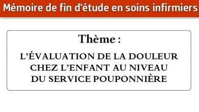 Photo of Mémoire infirmier : L'ÉVALUATION DE LA DOULEUR CHEZ L'ENFANT AU NIVEAU DU SERVICE POUPONNIÈRE