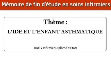 Photo of Mémoire infirmier : L'IDE ET L'ENFANT ASTHMATIQUE