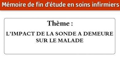 Photo of Mémoire infirmier : L'IMPACT DE LA SONDE A DEMEURE SUR LE MALADE