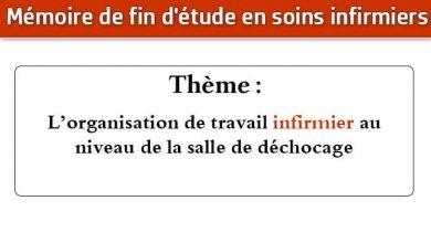 Photo of Mémoire infirmier : L'organisation de travail infirmier au niveau de la salle de déchocage