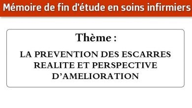 Photo of Mémoire infirmier : LA PREVENTION DES ESCARRES REALITE ET PERSPECTIVE D'AMELIORATION