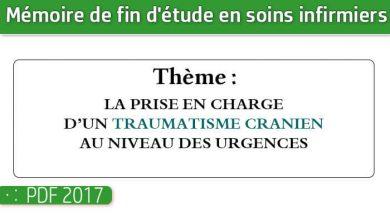 Photo of Memoire infirmiers : LA PRISE EN CHARGE D'UN TRAUMATISME CRANIEN AU NIVEAU DES URGENCES