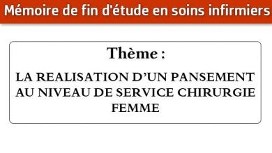 Photo of Mémoire infirmier : LA REALISATION D'UN PANSEMENT AU NIVEAU DE SERVICE CHIRURGIE FEMME
