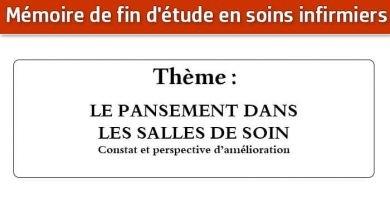 Photo of Mémoire infirmier : LE PANSEMENT DANS LES SALLES DE SOIN
