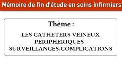 Photo of Mémoire infirmier : LES CATHETERS VEINEUX PERIPHERIQUES : SURVEILLANCES/COMPLICATIONS