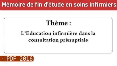 Photo of Memoire infirmiers : L'Education infirmière dans la consultation prénuptiale