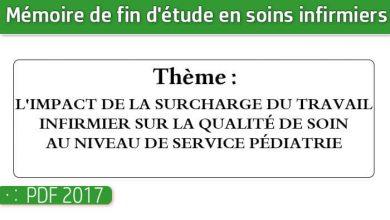 Photo of Memoire infirmiers : L'IMPACT DE LA SURCHARGE DU TRAVAIL INFIRMIER SUR LA QUALITÉ DE SOIN