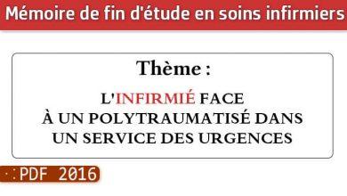 Photo of Memoire infirmiers : L'INFIRMIÉ FACE À UN POLYTRAUMATISÉ DANS UN SERVICE DES URGENCES