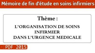 Photo of Memoire infirmiers : L'ORGANISATION DE SOINS INFIRMIER DANS L'URGENCE MEDICALE