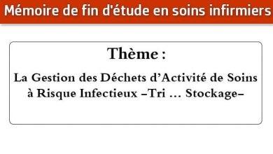 Photo of Mémoire infirmier : La Gestion des Déchets d'Activité de Soins à Risque Infectieux -Tri … Stockage-