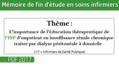 Photo of Memoire infirmiers : L'importance de l'éducation thérapeutique de l'ISP d'un patient en insuffisance rénale chronique traiter par dialyse péritonéale à domicile