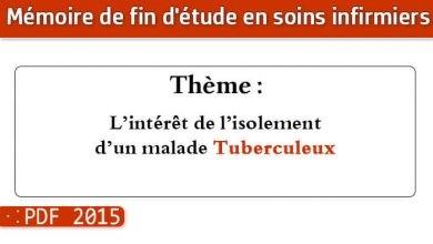 Photo of Memoire infirmier : L'intérêt de l'isolement d'un malade Tuberculeux Étude exécutée