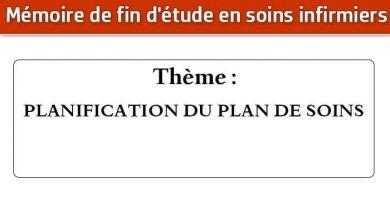 Photo of Mémoire infirmier : PLANIFICATION DU PLAN DE SOINS
