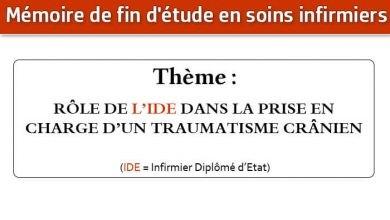 Photo of Mémoire infirmier : RÔLE DE L'IDE DANS LA PRISE EN CHARGE D'UN TRAUMATISME CRÂNIEN