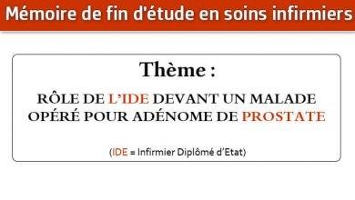 Photo of Mémoire infirmier : RÔLE DE L'IDE DEVANT UN MALADE OPÉRÉ POUR ADÉNOME DE PROSTATE