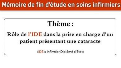 Photo of Mémoire infirmier : Rôle de l'IDE dans la prise en charge d'un patient présentant une cataracte